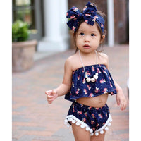Navy & Coral Floral Crop Top
