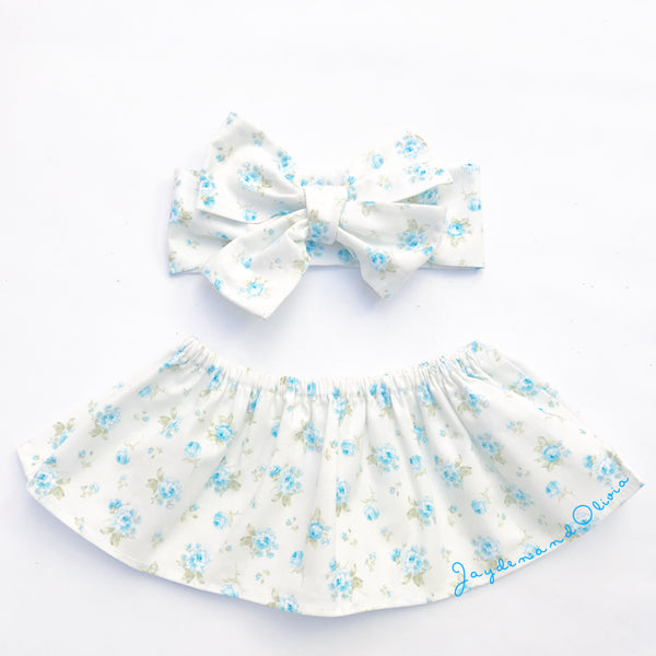 Baby Blue Rose Bud Crop Top