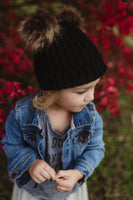 Black Sweater Beanie Faux Fur Poms