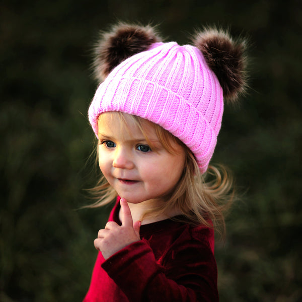 Baby Pink Sweater Beanie Faux Fur Poms