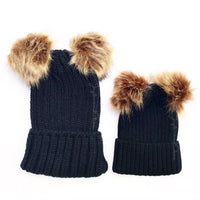 Mommy & Me BLACK Sweater Beanie Faux Fur Poms