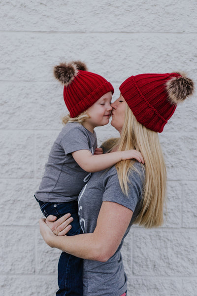 Mommy & Me CRANBERRY Sweater Beanie Faux Fur Poms