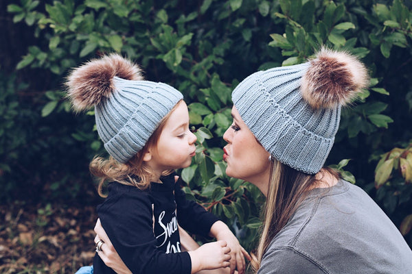 Mommy & Me ASH GREY Sweater Beanie Faux Fur Poms