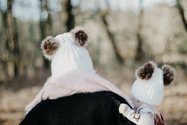 Mommy & Me OATMEAL Sweater Beanie Faux Fur Poms