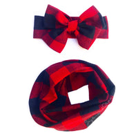 Lrg Black & Red Buffalo Plaid Infinity Scarf