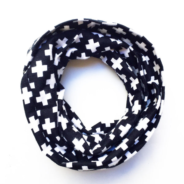Large Black & White Cross Infinity Scarf