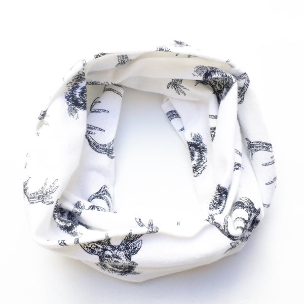 Black & White Deer Head Infinity Scarf