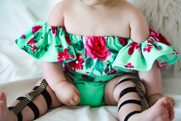 Teal Rose Flutter Sleeve Romper