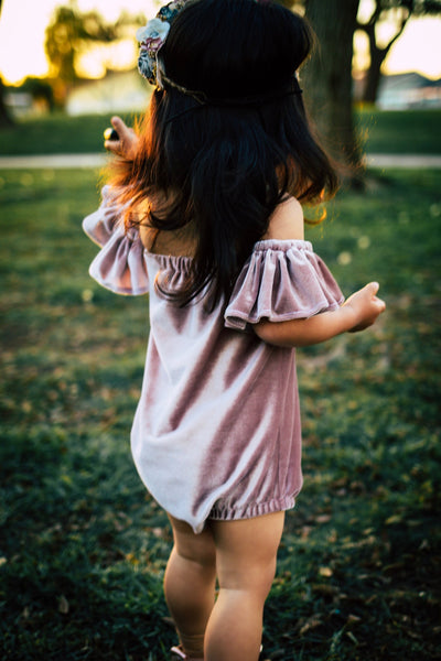 Enchanted VELVET Flutter Sleeve Romper