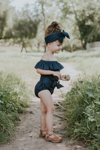 Midnight Denim Flutter Sleeve/Neck Romper w SASH