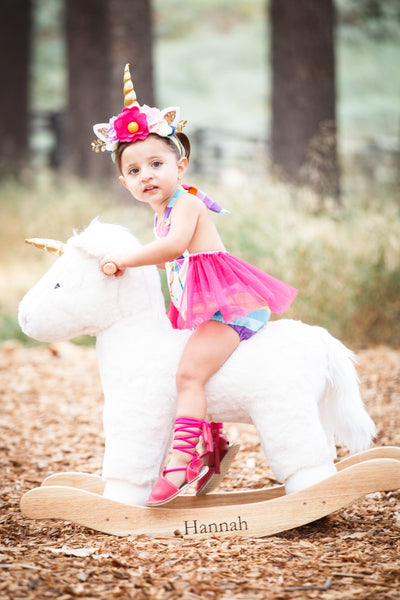 Multi-Color Rainbows & Unicorns Pink Tulle Romper