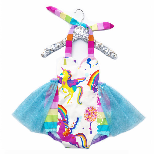 Blue Rainbows & Unicorns Tulle Romper