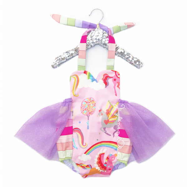 Lavender Rainbows & Unicorns Tulle Romper