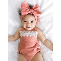Coral & Lace Tiny Polka Dot Romper