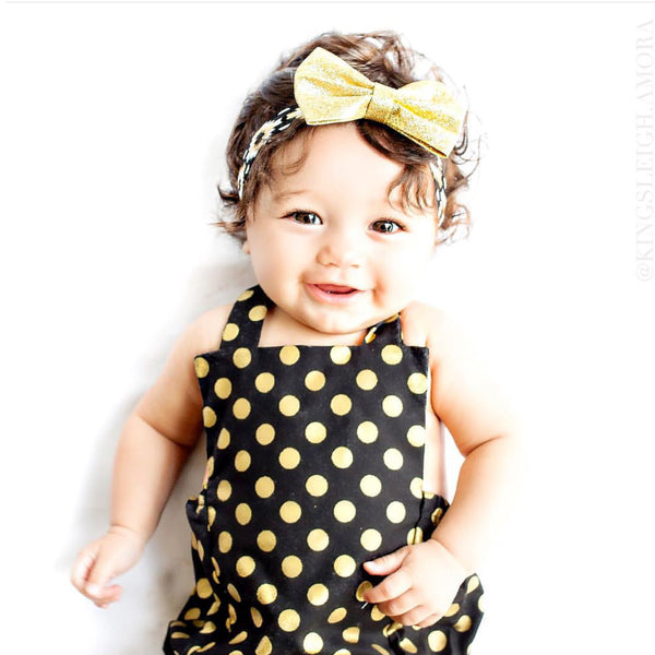 Black & Gold Polka Dot Romper
