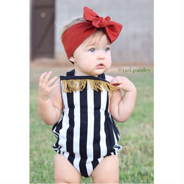 Black & White Stripe Gold Fringe Romper