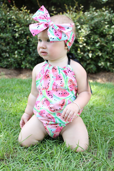Blue Watermelon Bubble Romper