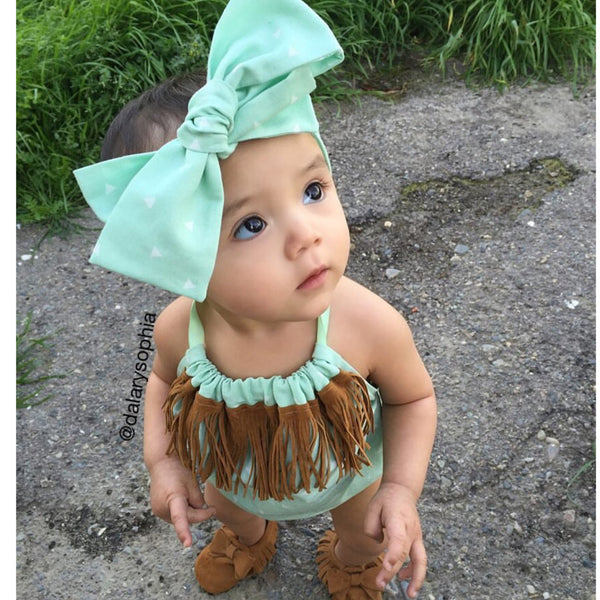 Mint Triangle Fringe Bubble Romper