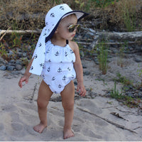 White & Navy Anchors Bubble Romper