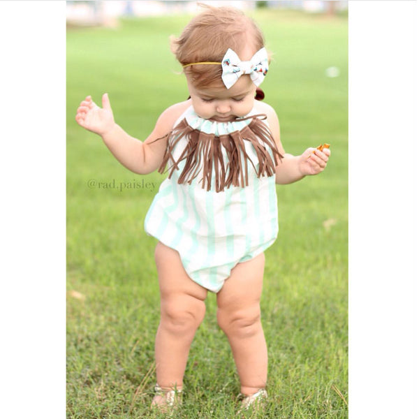 Mint Stripe Brown Fringe Bubble Romper