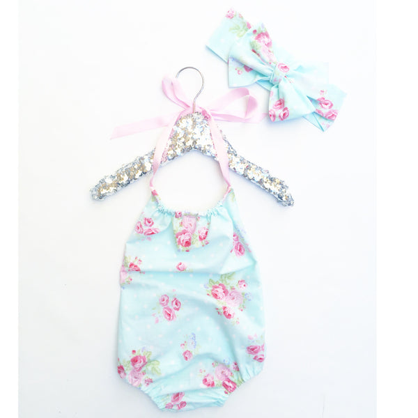 Baby Blue Shabby Chic Bubble Romper