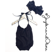 Black Solid Bubble Romper