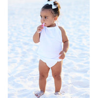 Arctic White Solid Bubble Romper