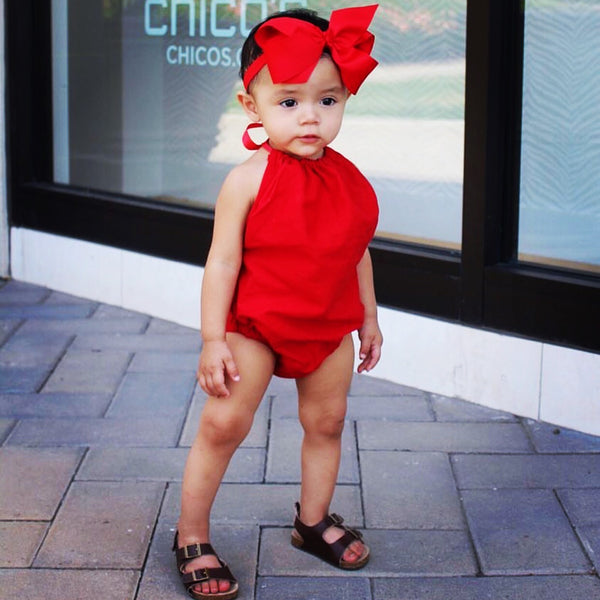 Lipstick Red Solid Bubble Romper