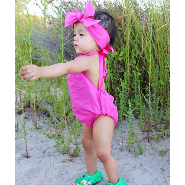 Hot Pink Solid Bubble Romper