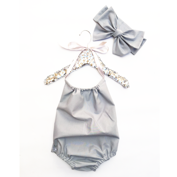 Ash Grey Solid Bubble Romper