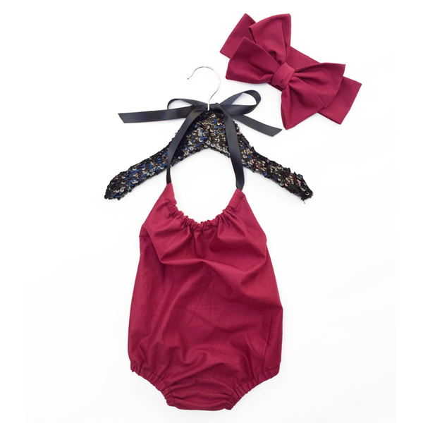 Cranberry Solid Bubble Romper