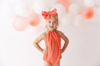 Coral Solid Bubble Romper