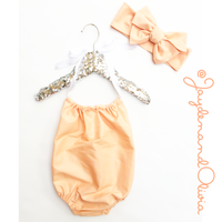 Peach Solid Bubble Romper