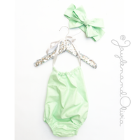 Mint Solid Bubble Romper