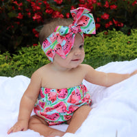 Blue Watermelon Strapless Romper