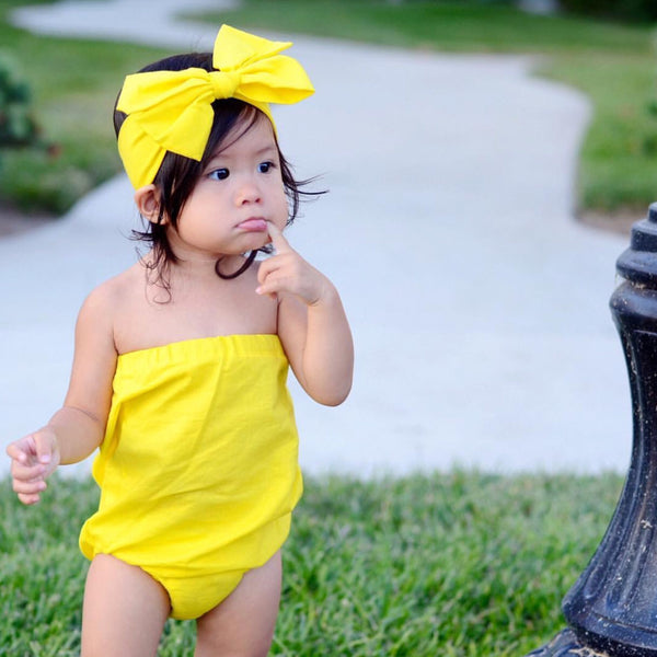 Solid Lemon Strapless Romper