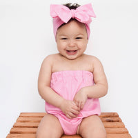 Solid Pink Rose Strapless Romper