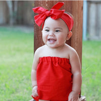 Solid Lipstick Red Strapless Romper