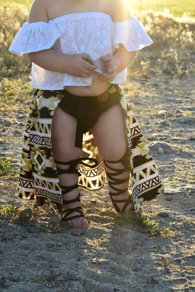 Black & Gold Aztec Cape Skirt