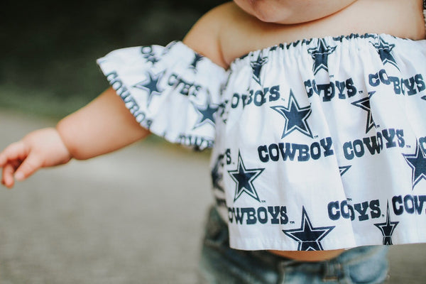 White Dallas Cowboys Flutter Sleeve Top