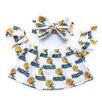 White Greenbay Packers Flutter Sleeve Top