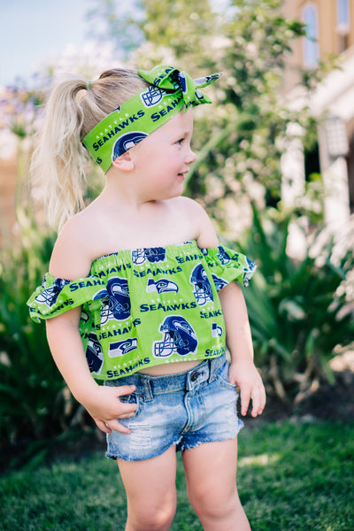 Lime Green Seattle Seahawks Flutter Sleeve Top