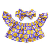 Lavender Los Angeles Lakers Flutter Sleeve Top