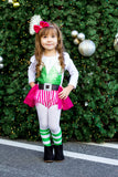 Green Hot Pink Stripe Elf Romper