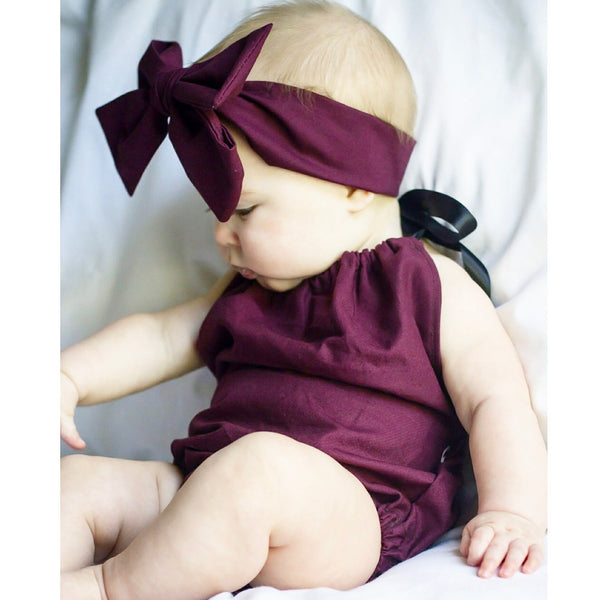 Plum Solid Bubble Romper