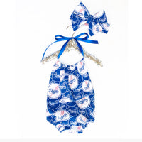 Blue & White Dodgers Bubble Romper
