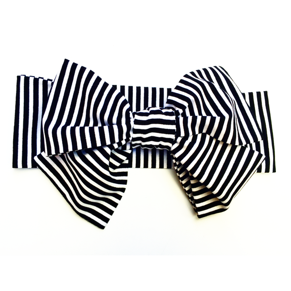 Black & White Tiny Stripe Head Wrap
