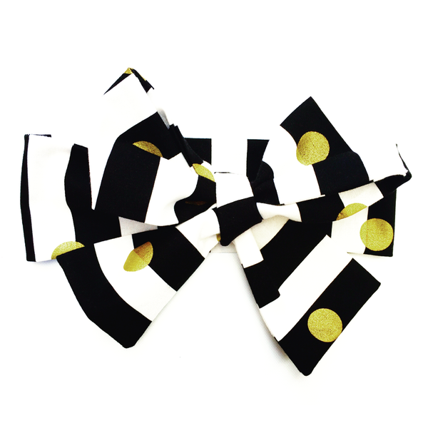 Black & White Stripe Gold Dot Head Wrap