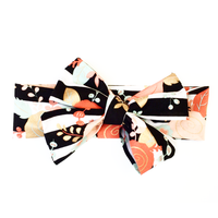 Black & White Stripe Coral Floral Head Wrap