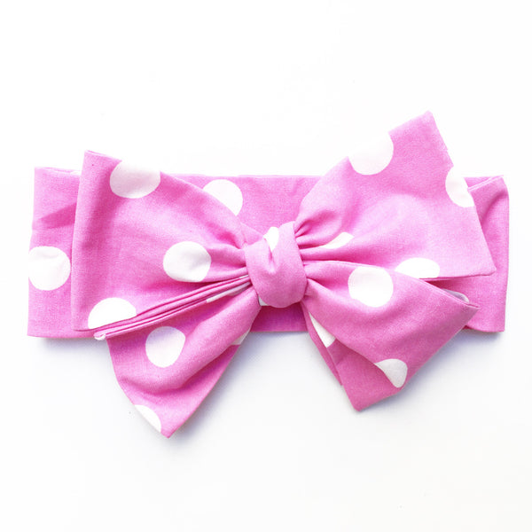 Med Pink Polka Dot Head Wrap